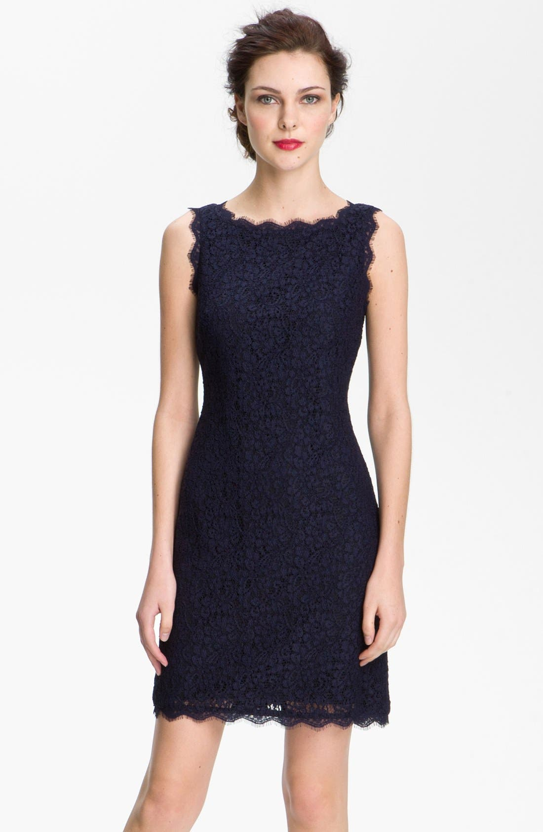Adrianna Papell Boatneck Lace Sheath Dress (Regular & Petite)