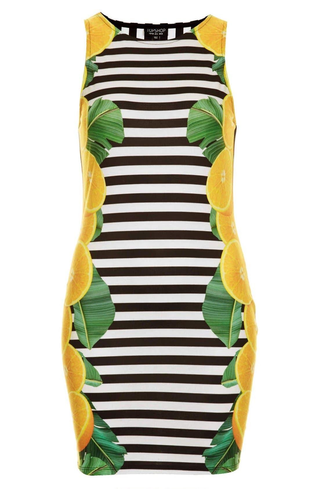 Alternate Image 3  - Topshop Lemon Stripe Print Body-Con Dress