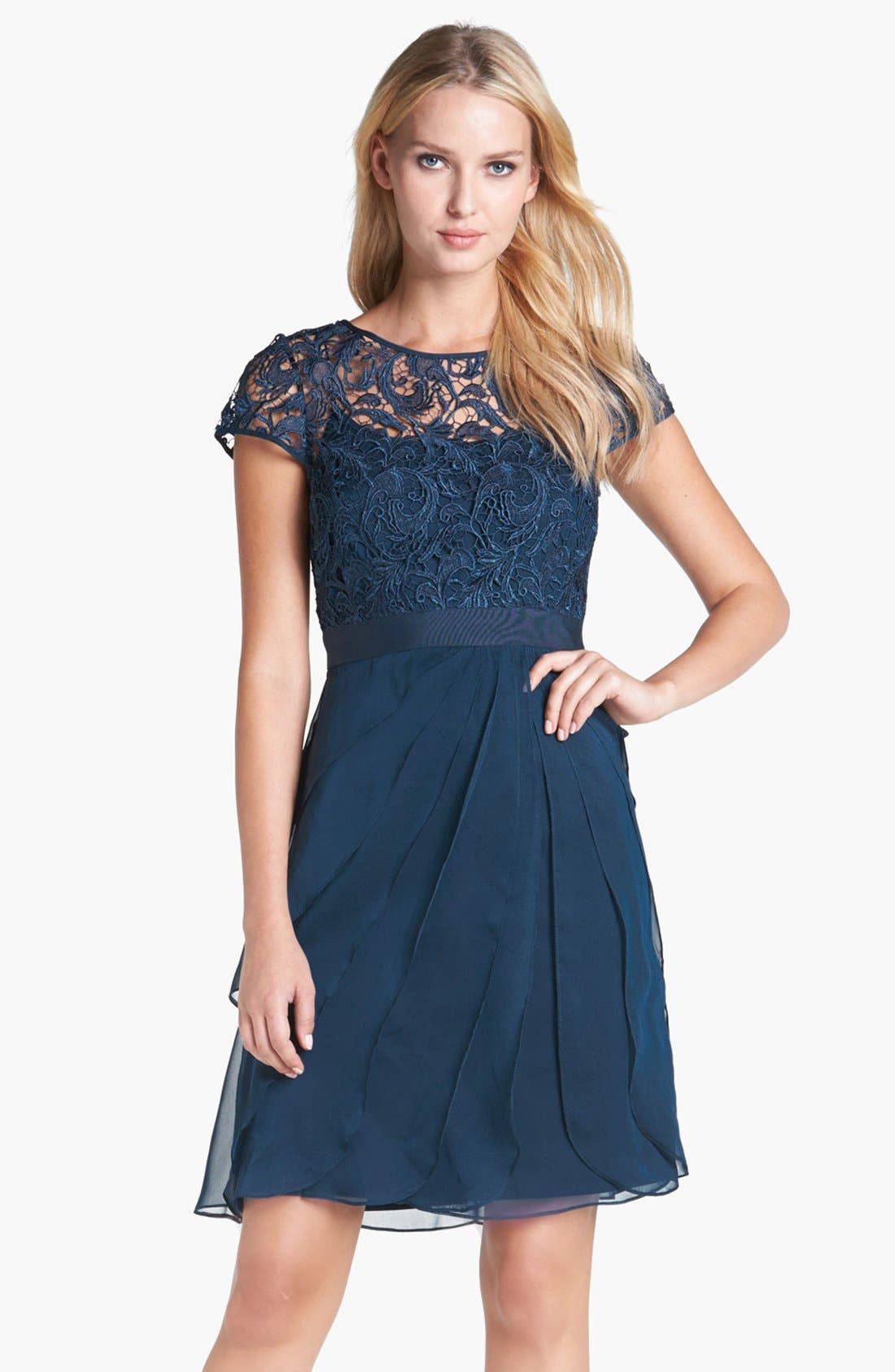 Alternate Image 1 Selected - Adrianna Papell Lace & Tiered Chiffon Dress (Regular & Petite)