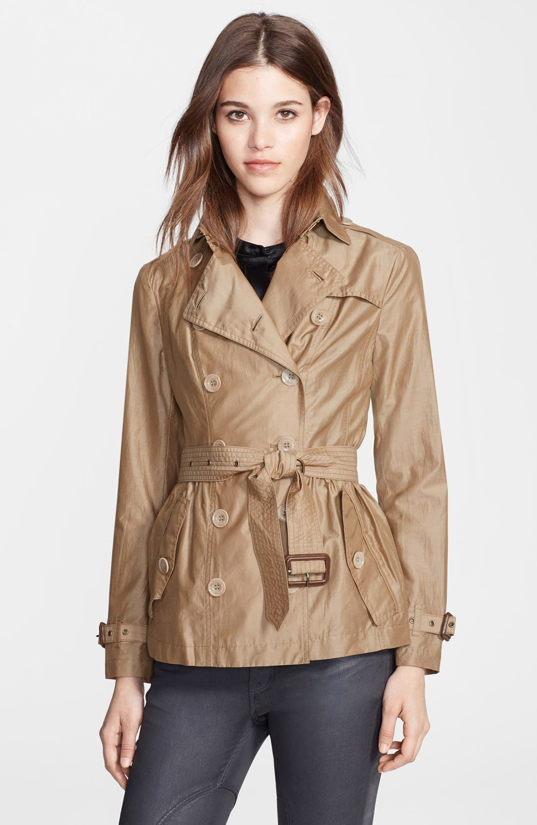 Main Image - Burberry Brit 'Harpsfield' Cotton & Silk Double Breasted Jacket