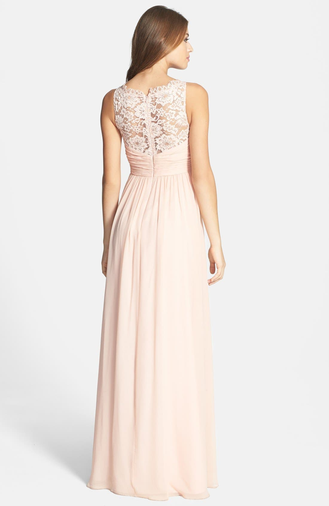 Alternate Image 2  - Aidan Mattox Embellished Lace & Silk Chiffon Gown (Online Only)
