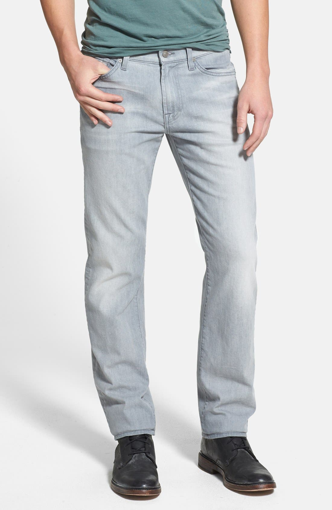 Alternate Image 1 Selected - 7 For All Mankind® 'Slimmy' Slim Straight Leg Jeans (Ghost Grey)