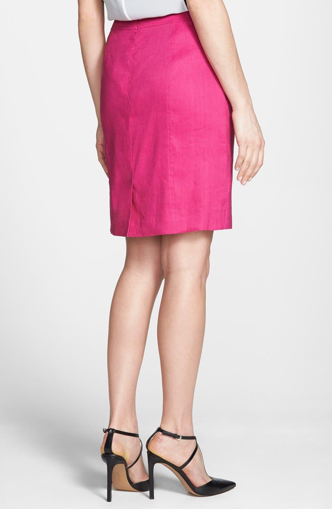 Alternate Image 2  - Halogen® Linen Blend Pencil Skirt (Regular & Petite)