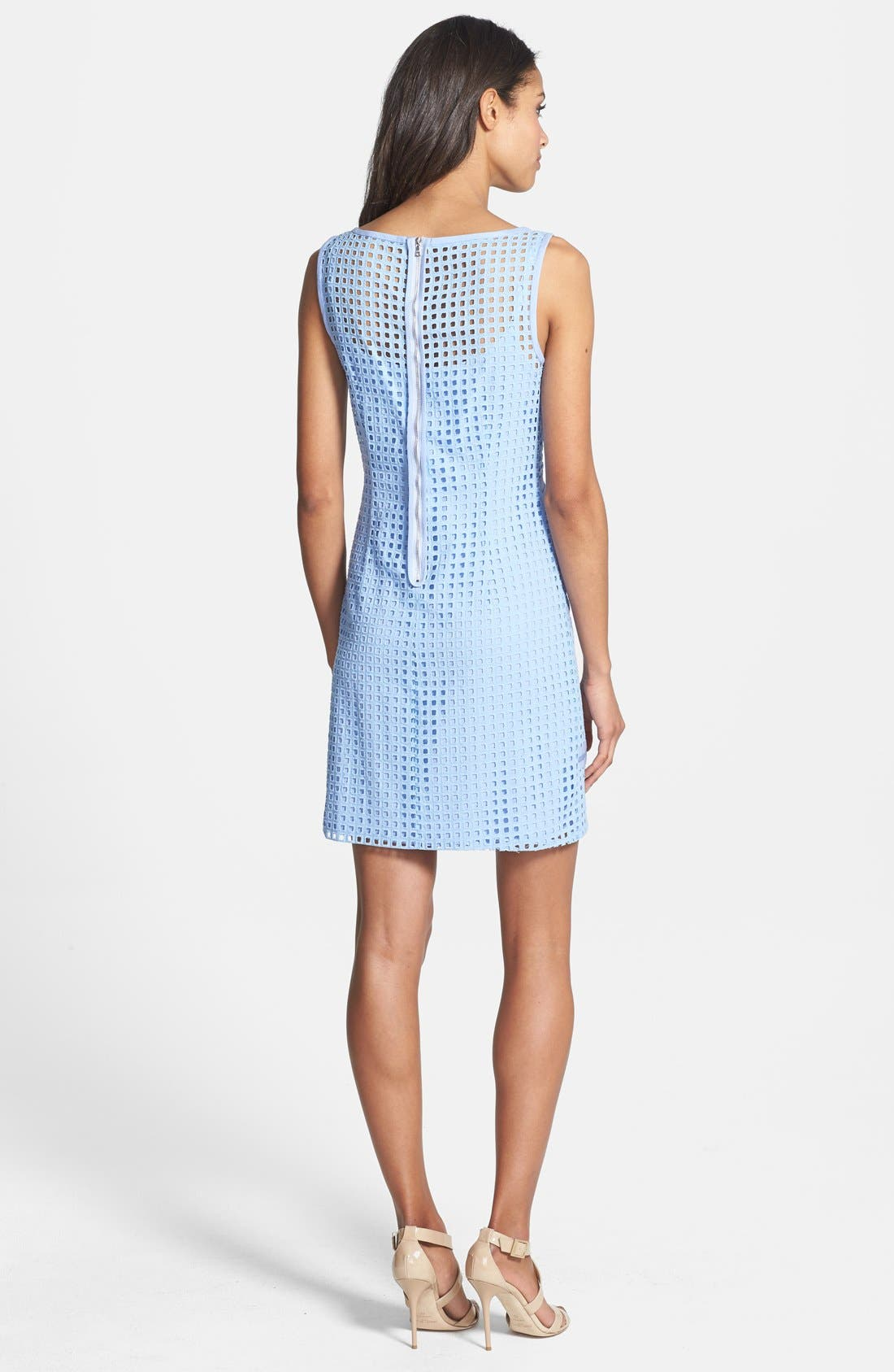 Alternate Image 2  - Ivy & Blu Inset Organza Trim Cotton Eyelet Shift Dress