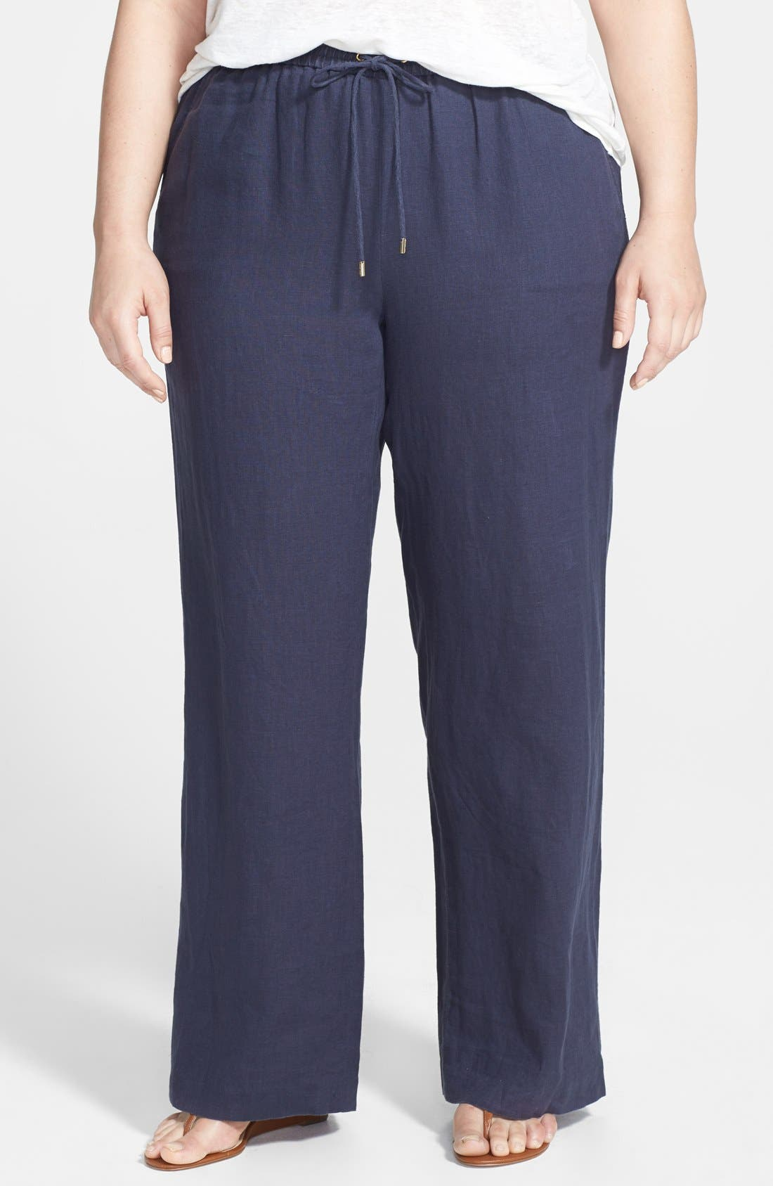 Alternate Image 1 Selected - MICHAEL Michael Kors Linen Wide Leg Pants (Plus Size)