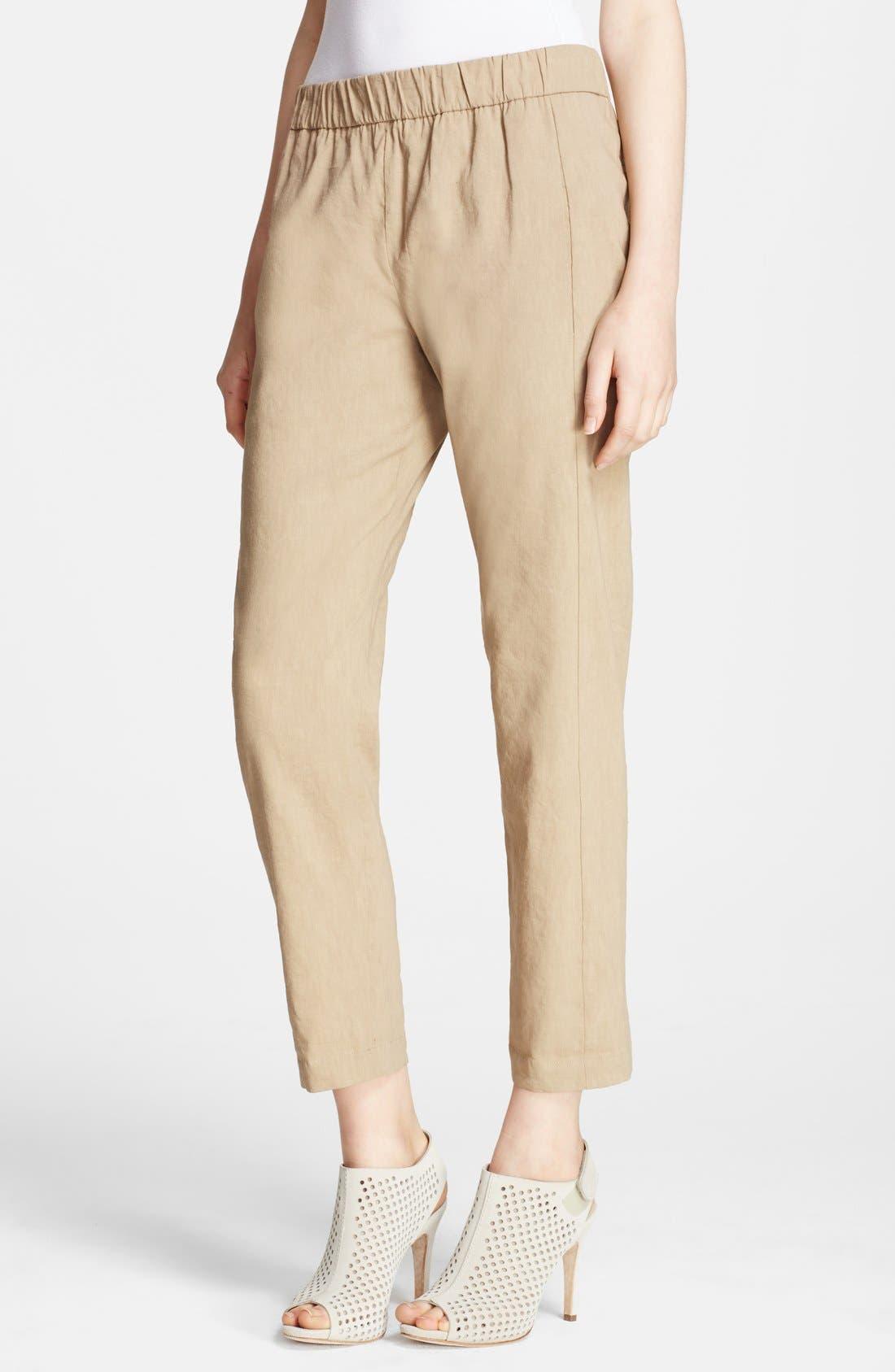 Main Image - Theory 'Korene' Crop Linen Blend Pants