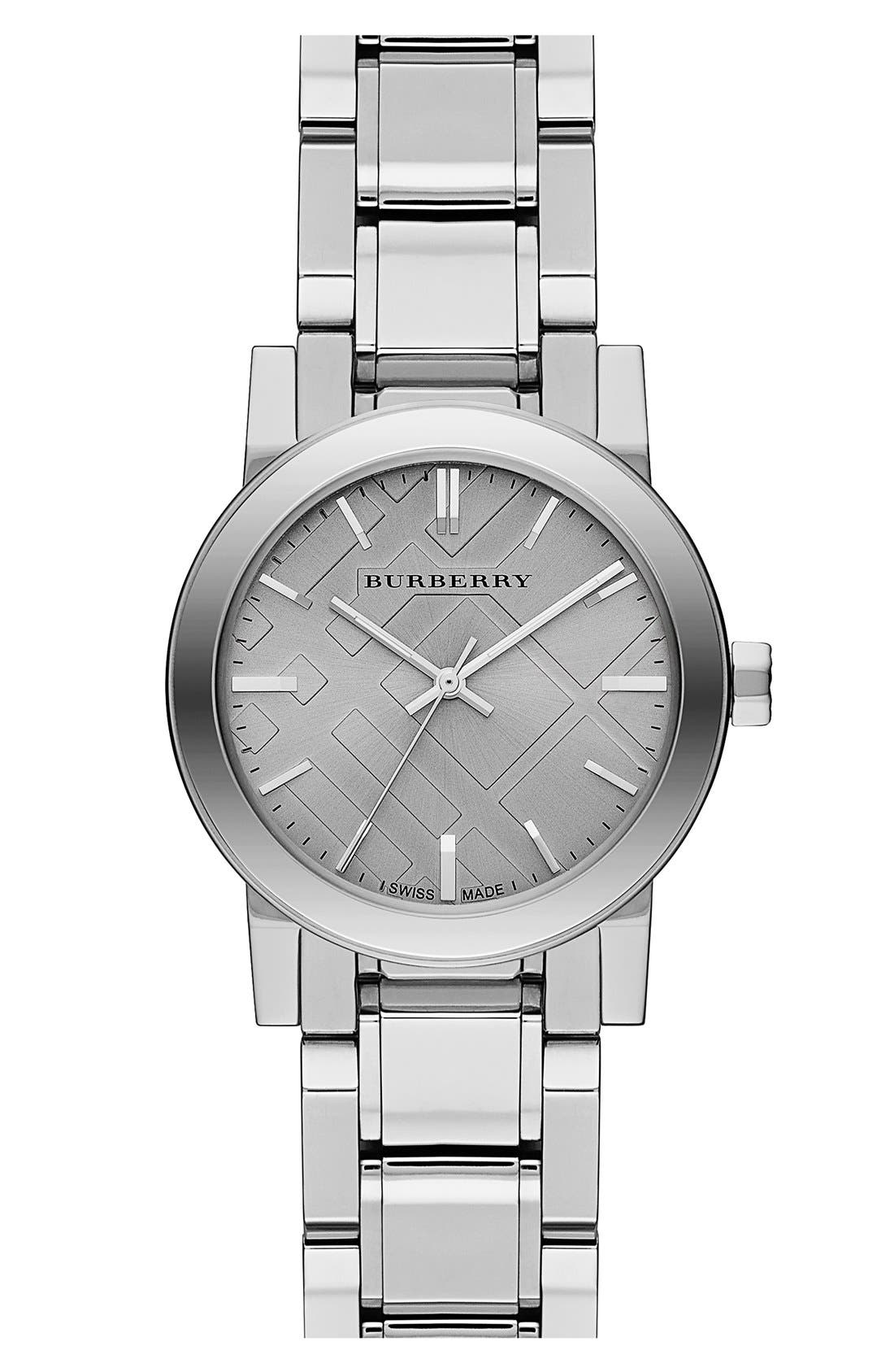 Alternate Image 1 Selected - Burberry Small Check Stamped Bracelet Watch, 26mm