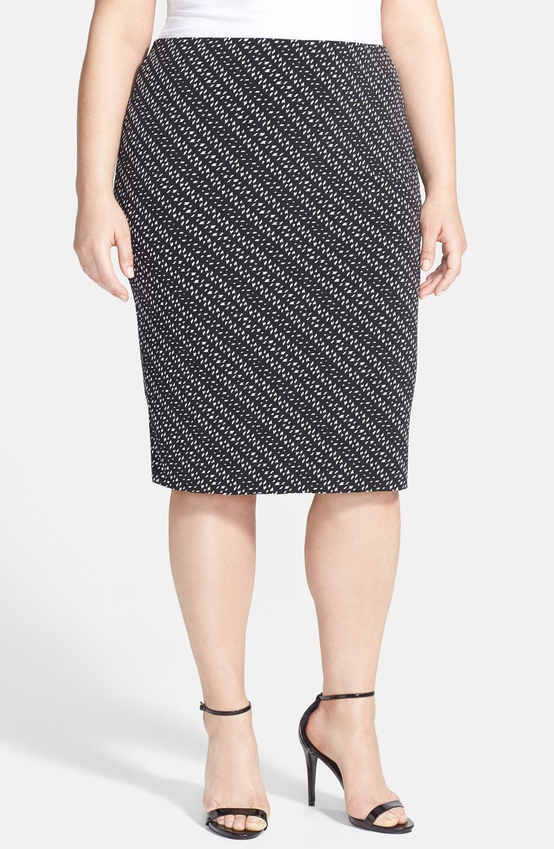Alternate Image 1 Selected - Vince Camuto 'Graphic Specks' Raw Edge Hem Midi Tube Skirt (Plus Size)