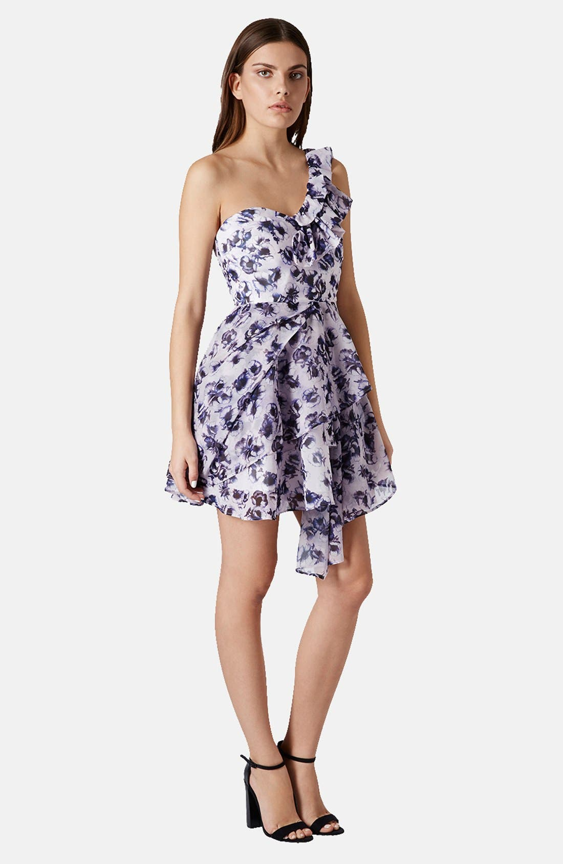 Alternate Image 5  - Topshop One-Shoulder Floral Chiffon Dress