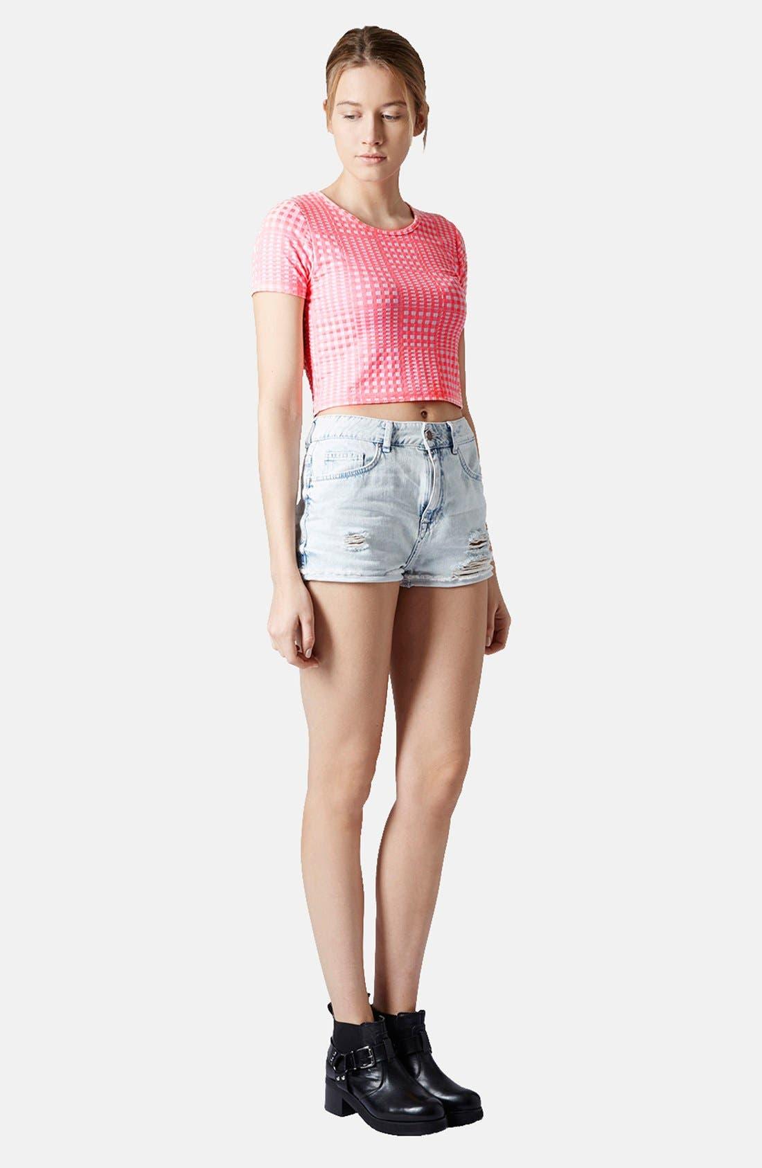 Main Image - Topshop Moto 'Hallie' Destroyed Bleached Denim Shorts
