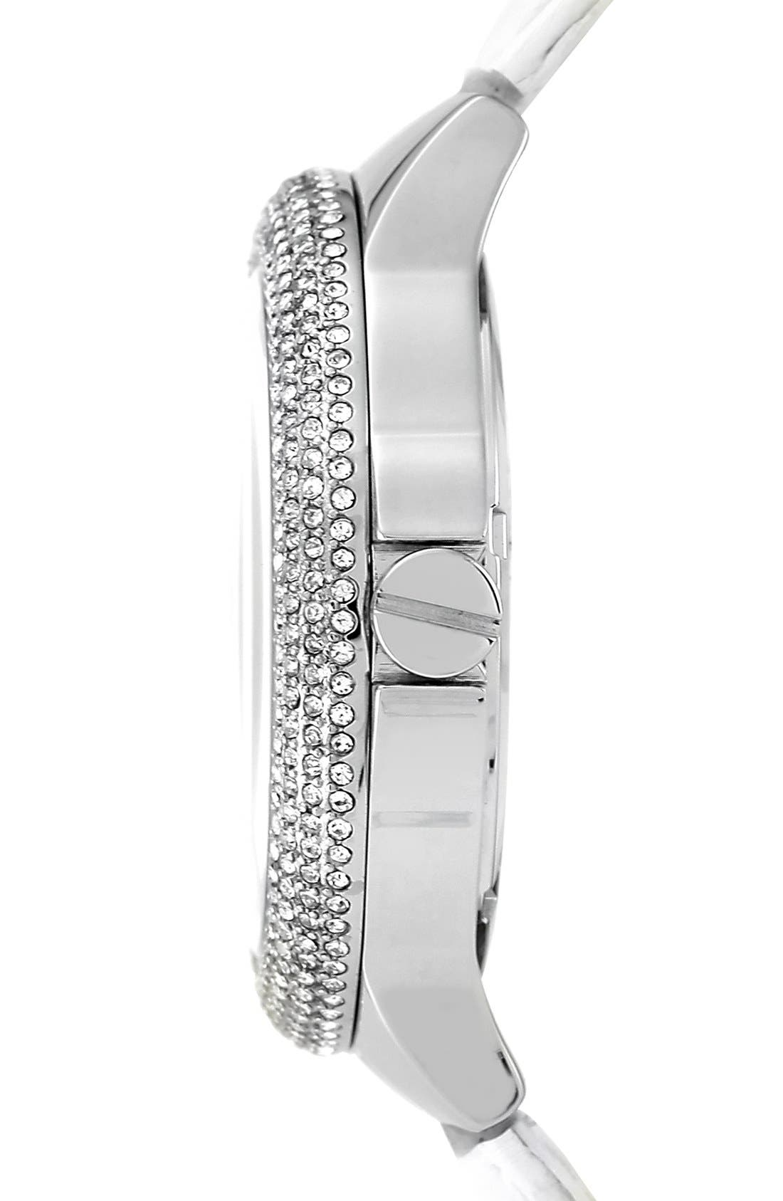 Alternate Image 3  - Vince Camuto Crystal Bezel Multifunction Leather Strap Watch, 42mm