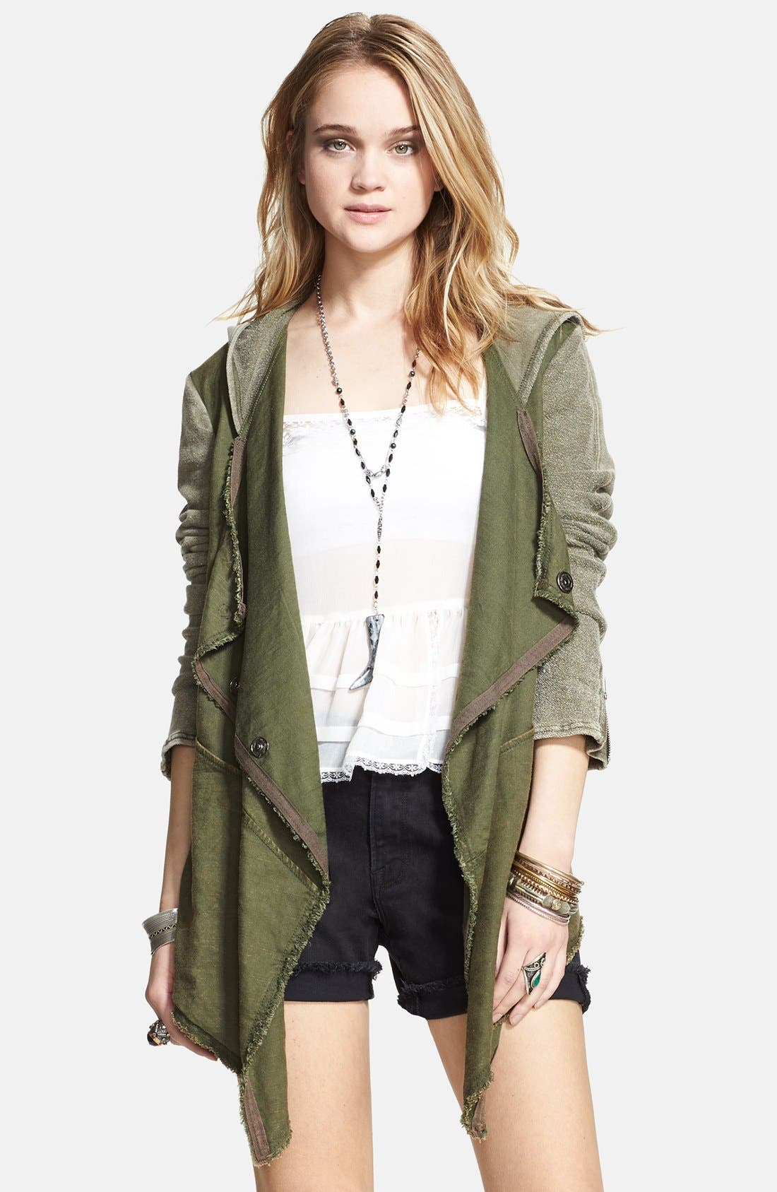 Main Image - Free People Drapey Linen Blend Jacket
