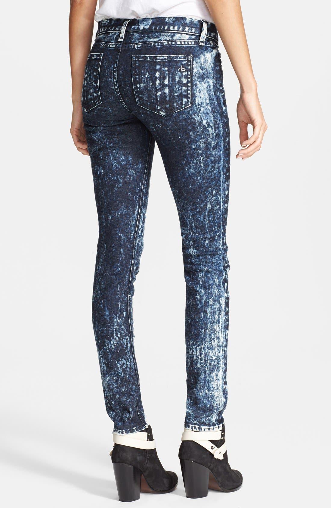 Alternate Image 2  - rag & bone/JEAN Stretch Skinny Jeans (Acid Wash/Black/White)