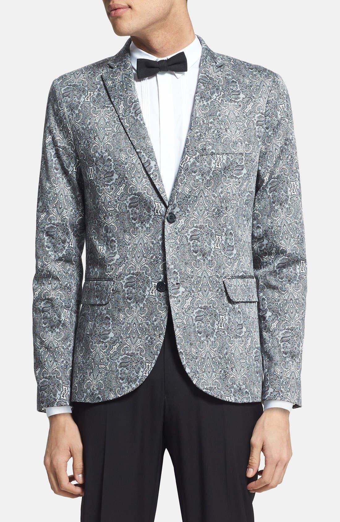 Alternate Image 1 Selected - Topman Skinny Fit Paisley Print Suit Jacket