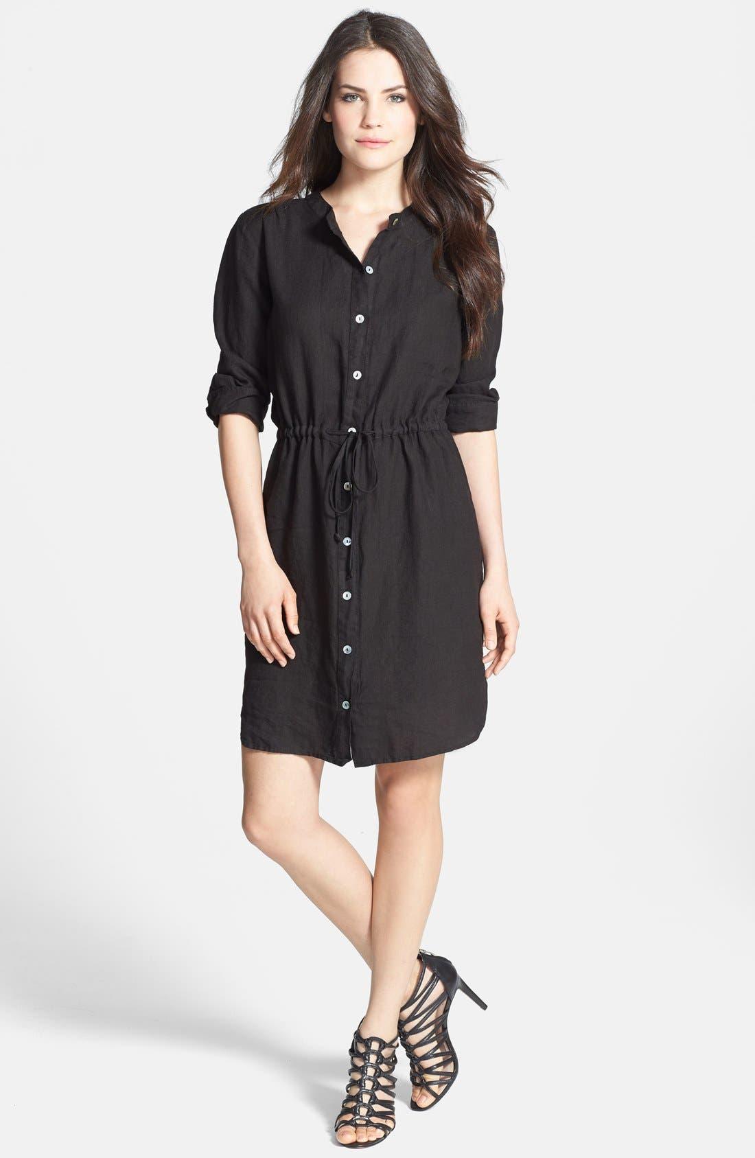 Alternate Image 1 Selected - Allen Allen Linen Shirtdress