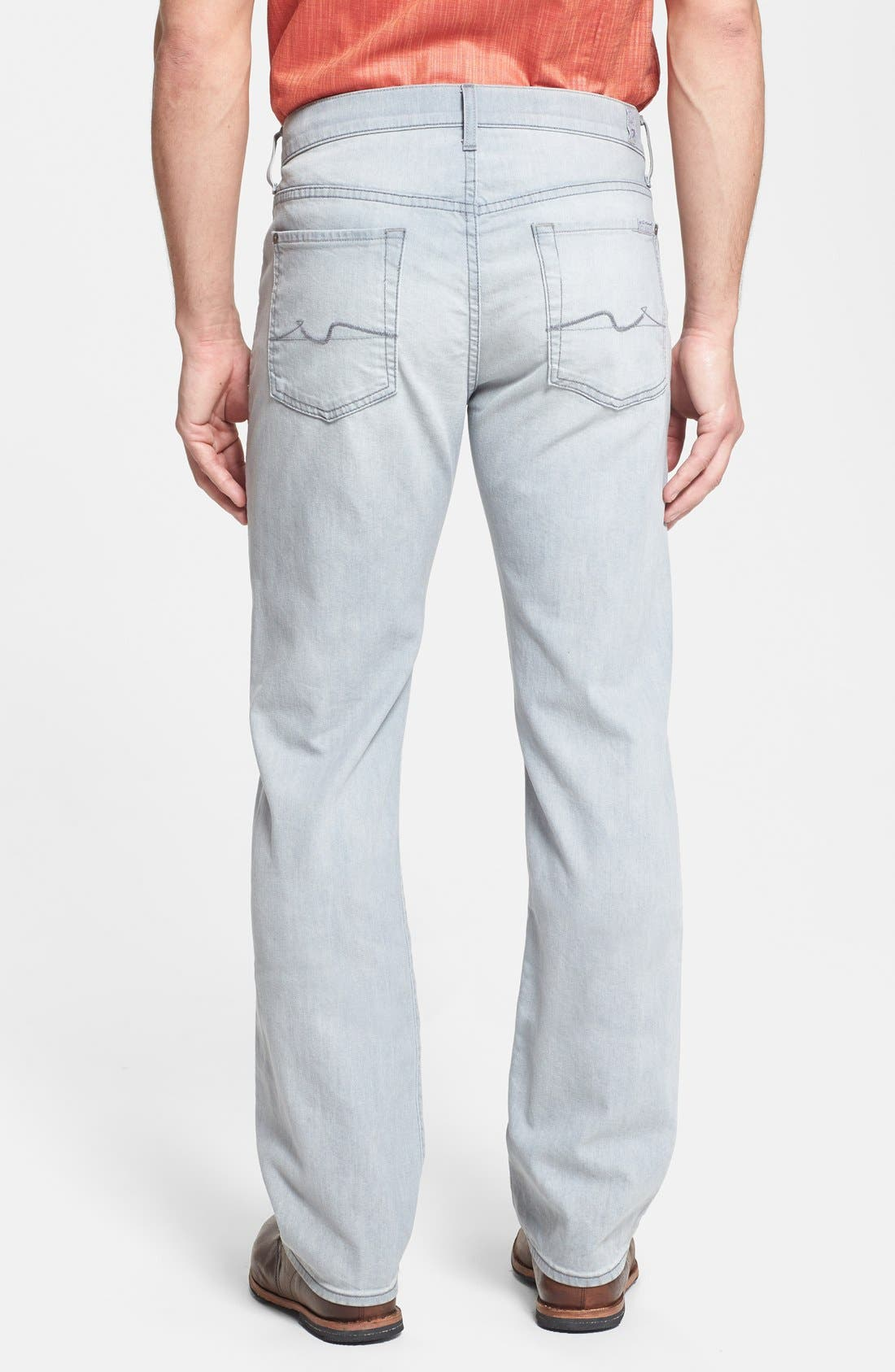 Alternate Image 2  - 7 For All Mankind® 'Standard' Straight Leg Jeans (Ghost Grey)