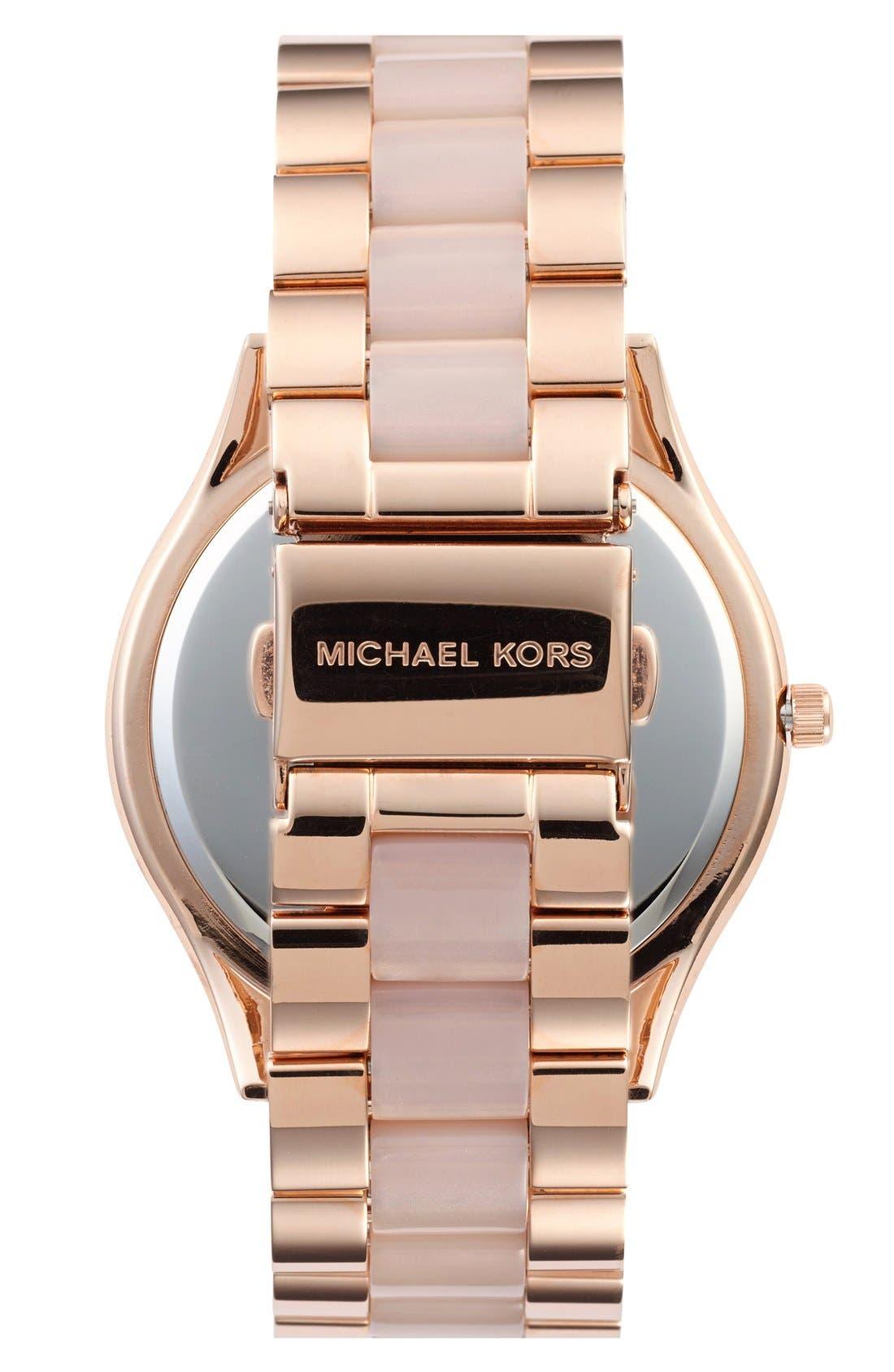 Alternate Image 2  - Michael Kors 'Slim Runway' Pavé Dial Blush Acetate Link Bracelet Watch, 42mm