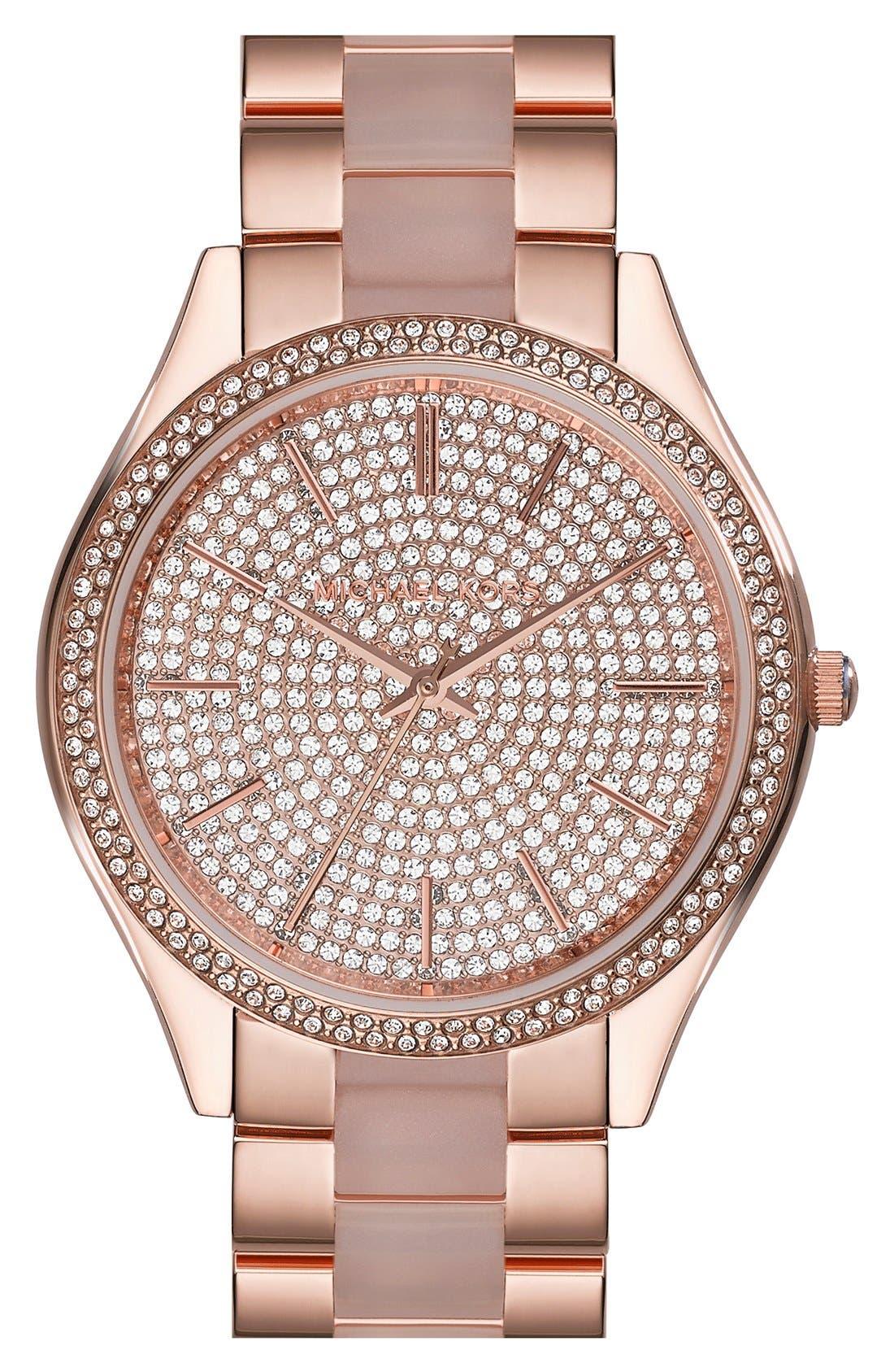 Alternate Image 1 Selected - Michael Kors 'Slim Runway' Pavé Dial Blush Acetate Link Bracelet Watch, 42mm