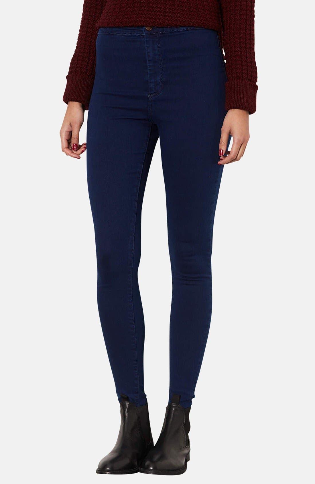 Alternate Image 1 Selected - Topshop Moto 'Joni' High Rise Skinny Jeans (Blue) (Short)