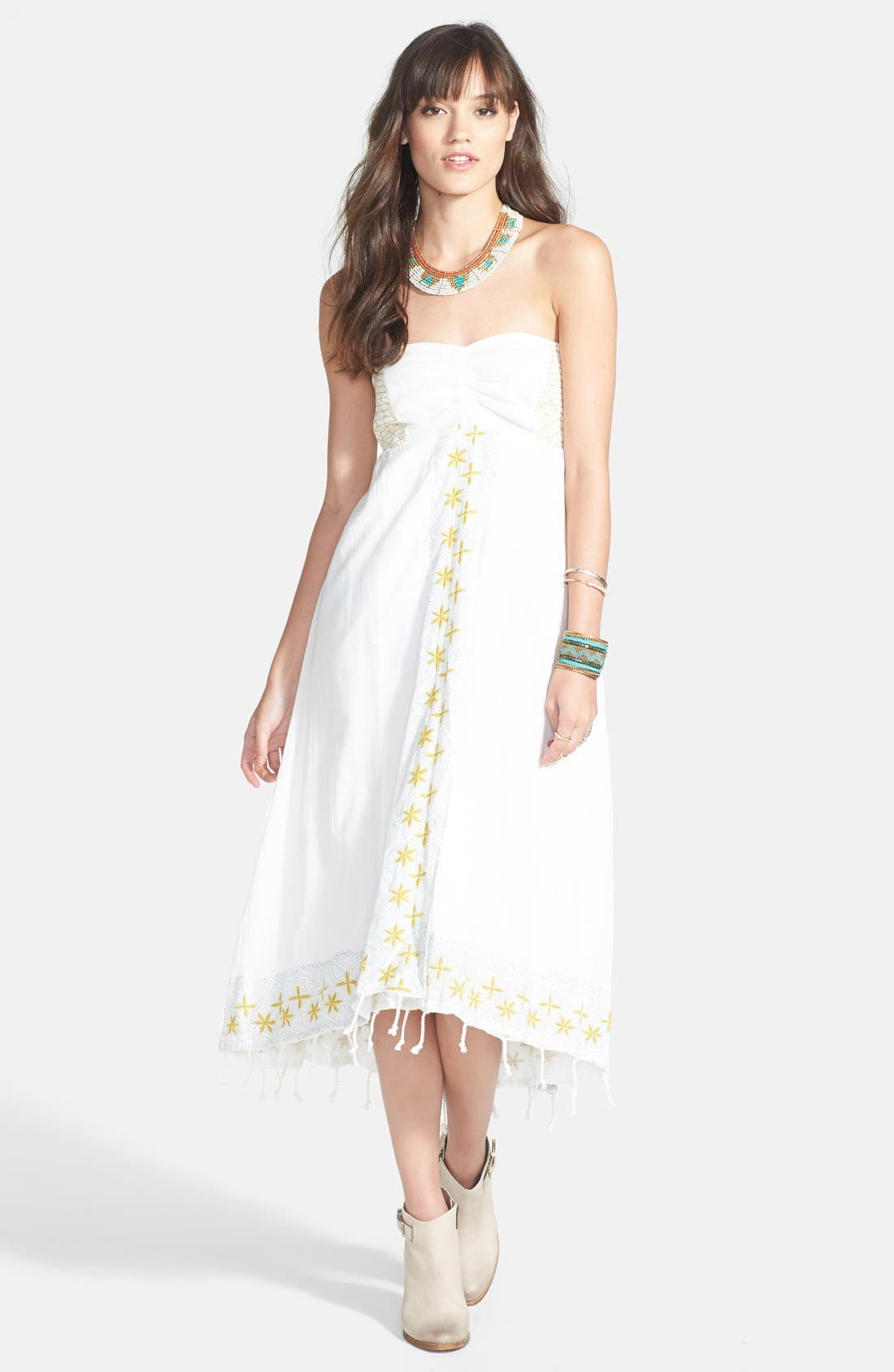 Main Image - Free People 'Star of India' Embroidered Strapless High/Low Dress
