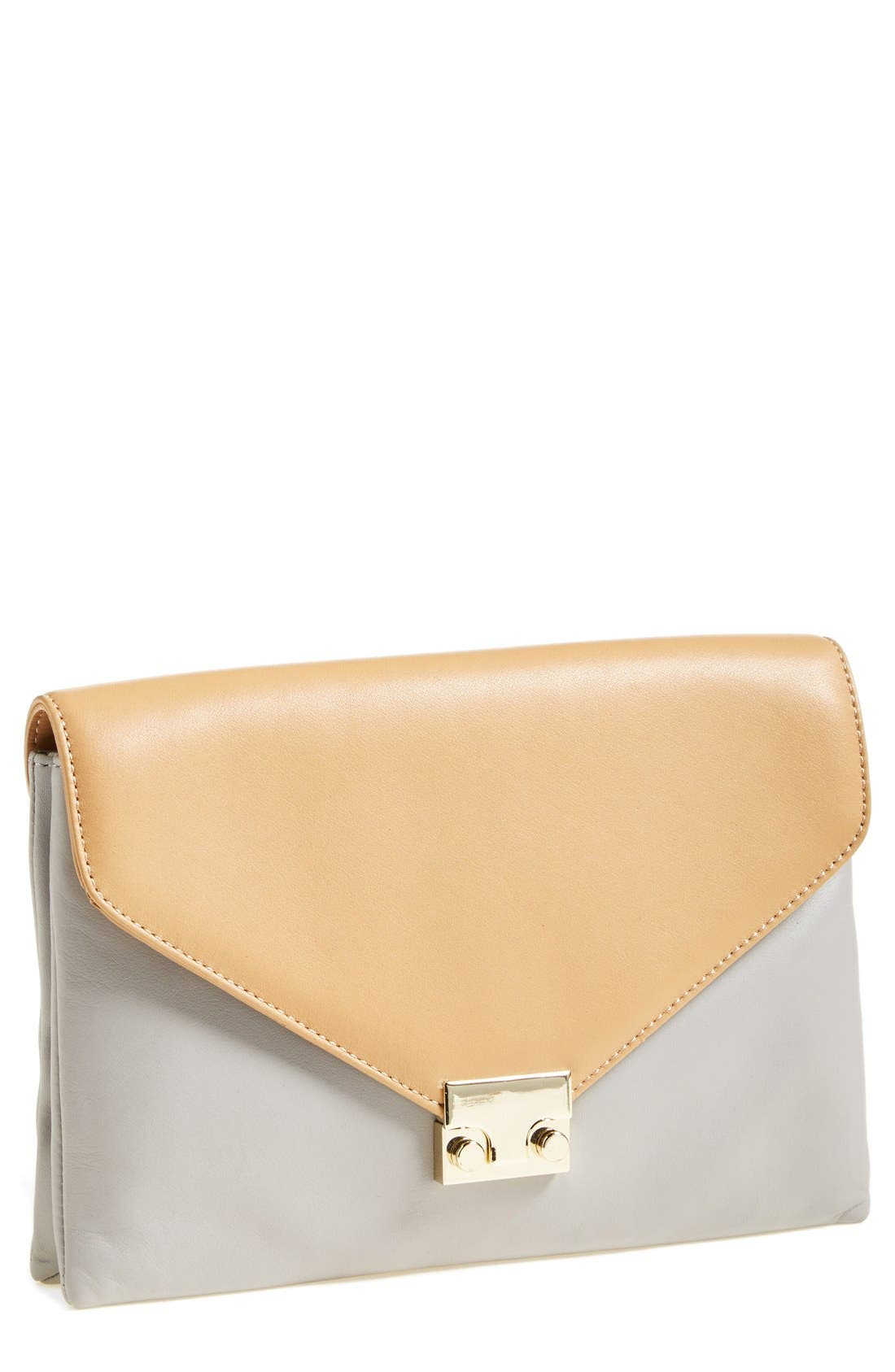 Alternate Image 1 Selected - Loeffler Randall 'Lock' Leather Clutch, Small