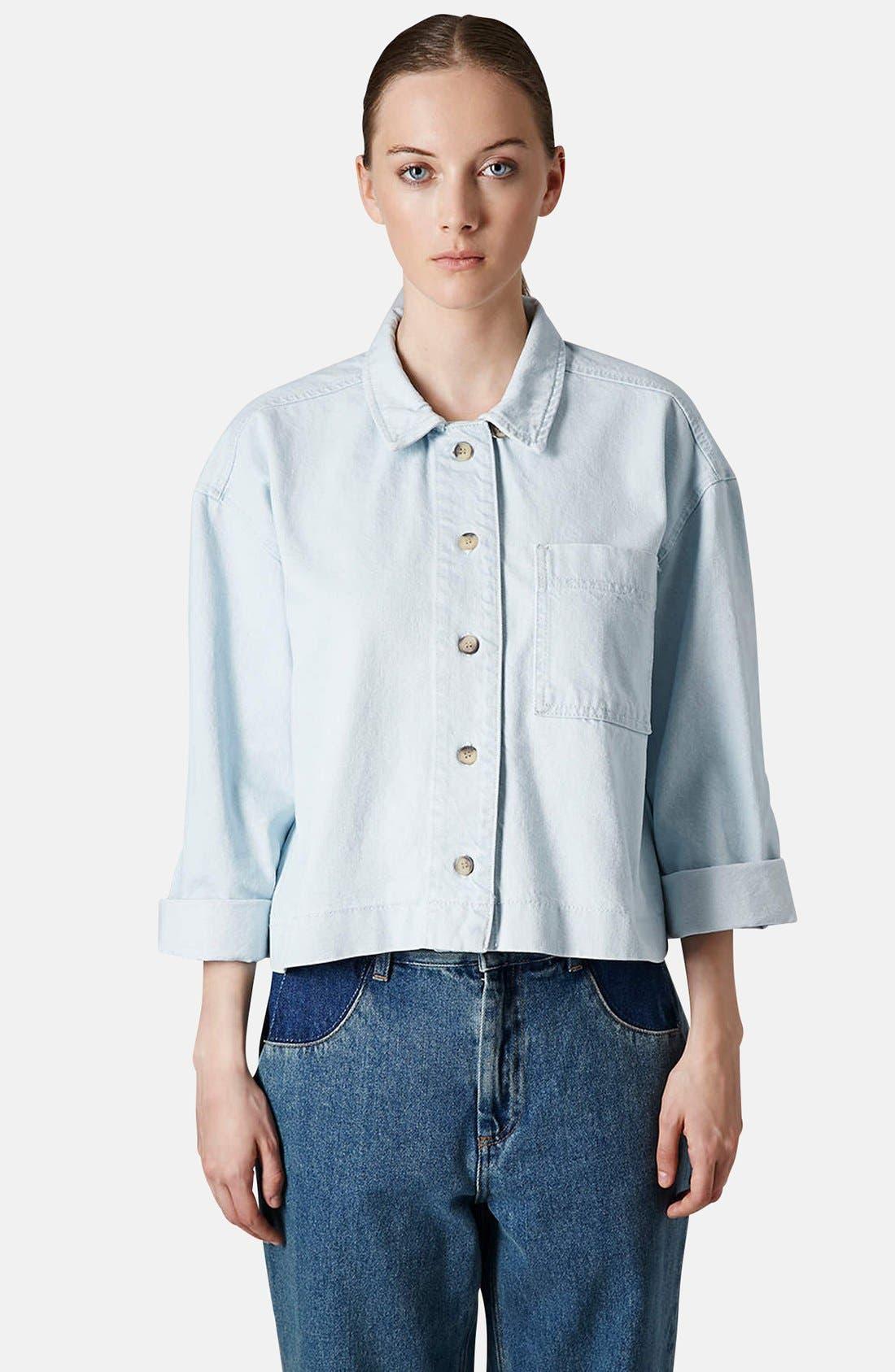 Main Image - Topshop Boutique Crop Denim Shirt