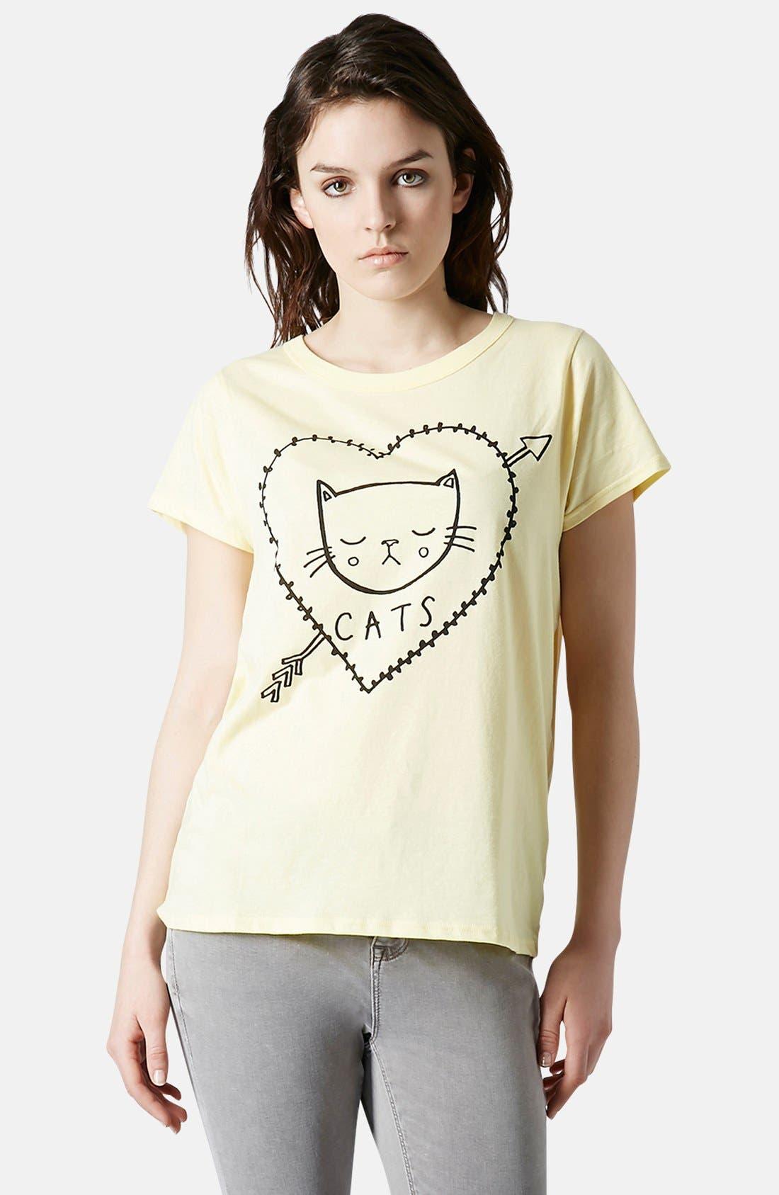 Main Image - Topshop 'I Love Cats' Cotton Tee