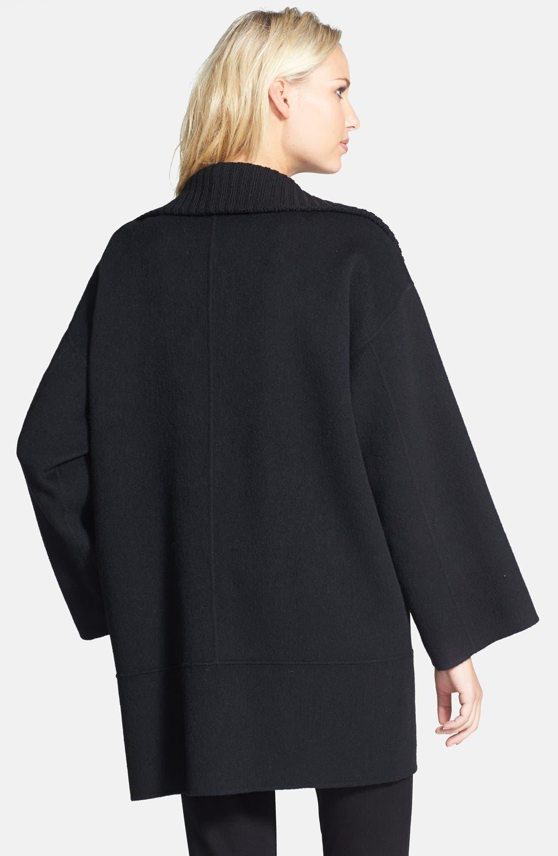 Alternate Image 2  - Eileen Fisher Knit Funnel Collar Wool Blend Coat (Petite) (Online Only)