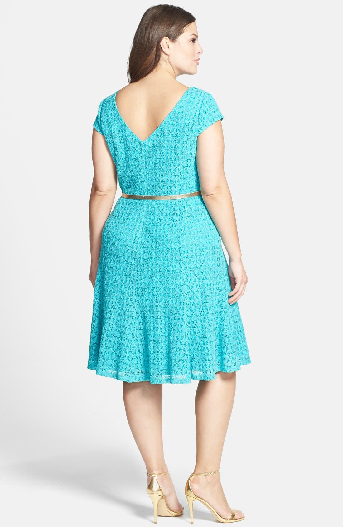 Alternate Image 2  - London Times Belted Cap Sleeve Lace Fit & Flare Dress (Plus Size)