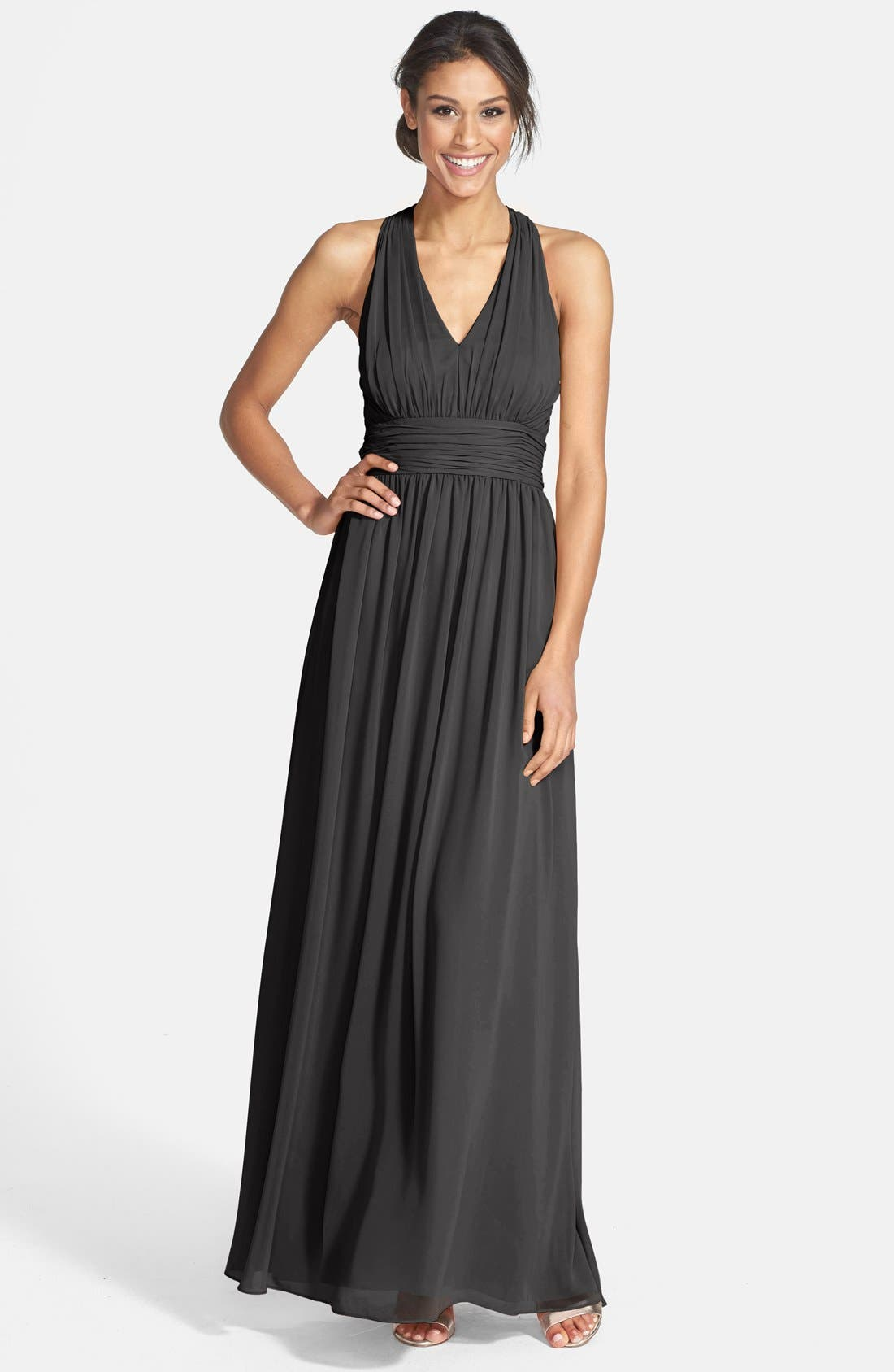 Alternate Image 1 Selected - Eliza J Halter Chiffon Gown