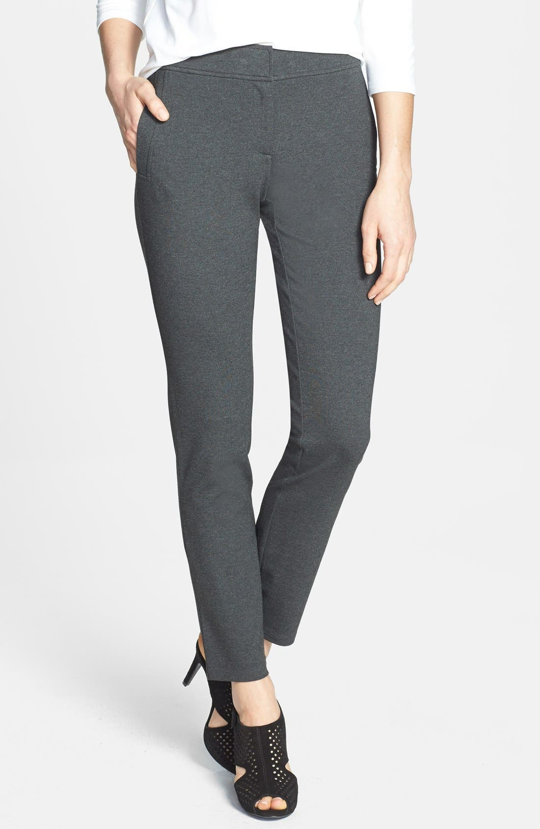 Alternate Image 1 Selected - Eileen Fisher Slim Knit Ankle Pants (Regular & Petite)