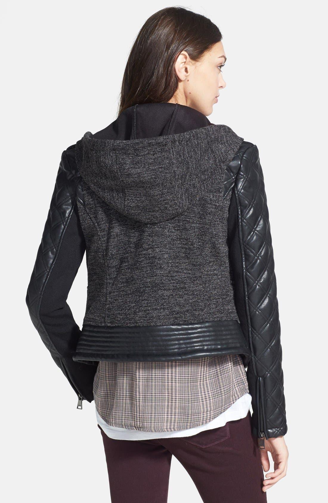 Alternate Image 2  - bebe Knit & Faux Leather Hooded Moto Jacket