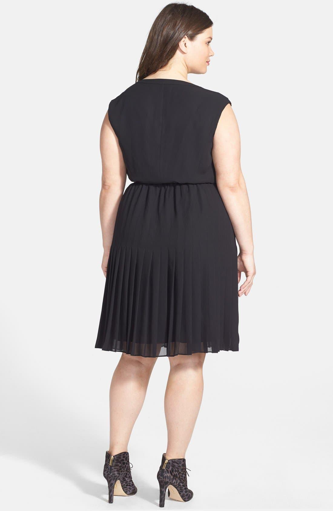 Alternate Image 2  - Halogen® Belted Pleat Dress (Plus Size) (Online Only)