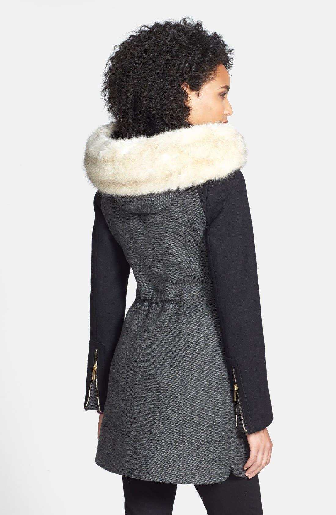 Alternate Image 3  - Laundry by Shelli Segal Faux Fur Trim Colorblock Tweed Coat