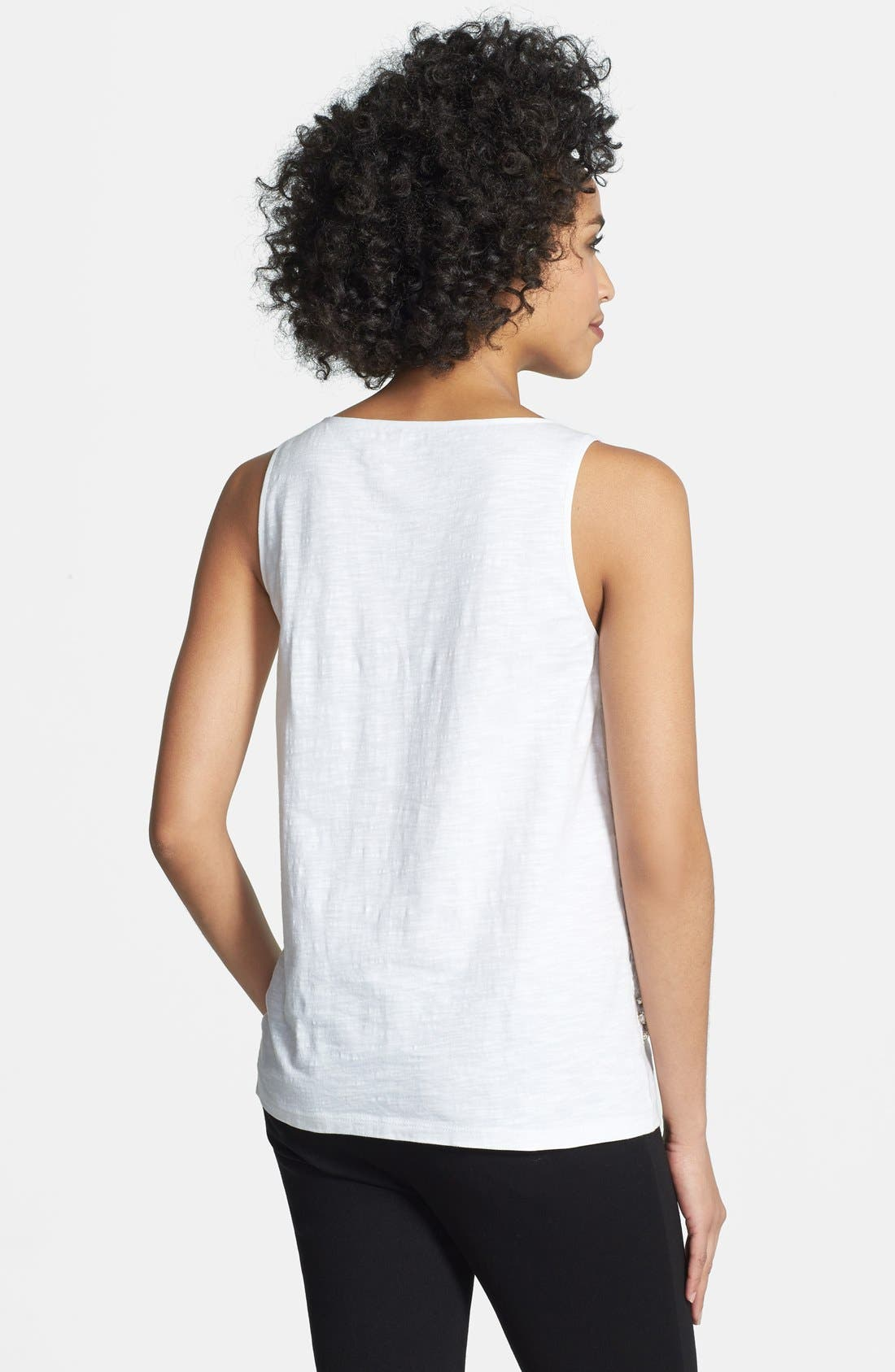 Alternate Image 2  - Adrianna Papell Embellished Cotton Voile Tank