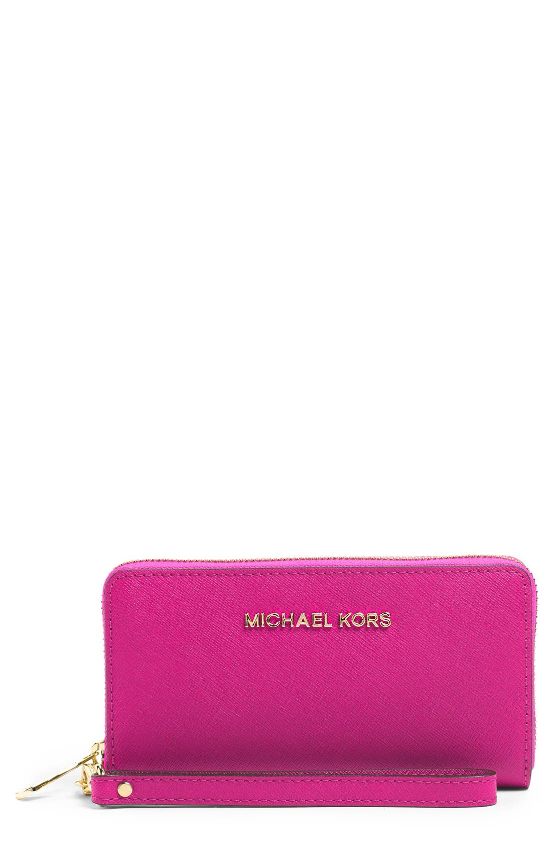 Alternate Image 1 Selected - MICHAEL Michael Kors 'Large Jet Set' Saffiano Leather Phone Wristlet