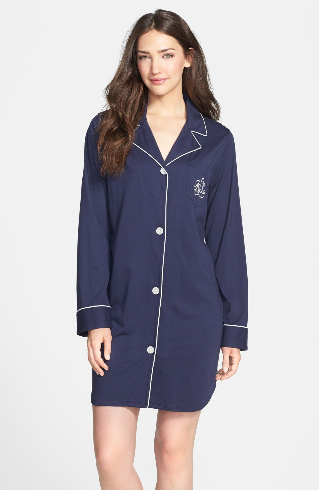 Alternate Image 1 Selected - Lauren Ralph Lauren Knit Nightshirt (Online Only)