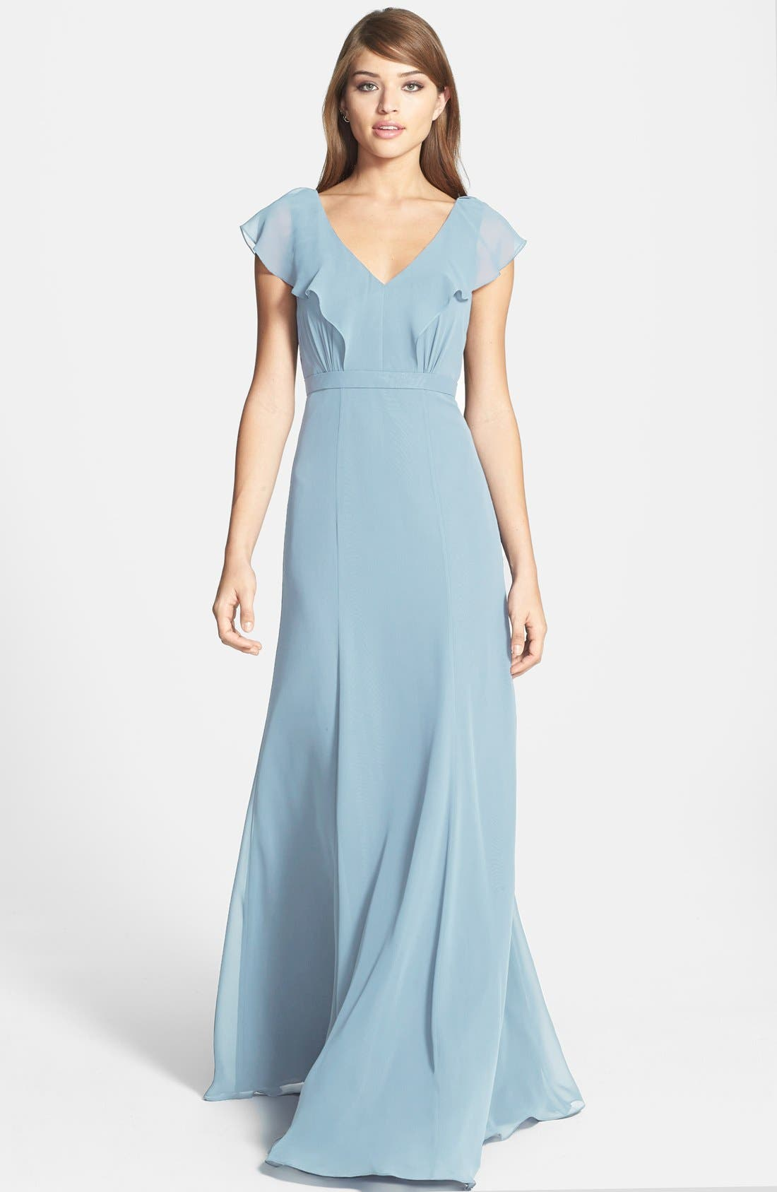 Alternate Image 1 Selected - Jenny Yoo 'Cecilia' Ruffled V-Neck Chiffon Long Dress (Online Only)