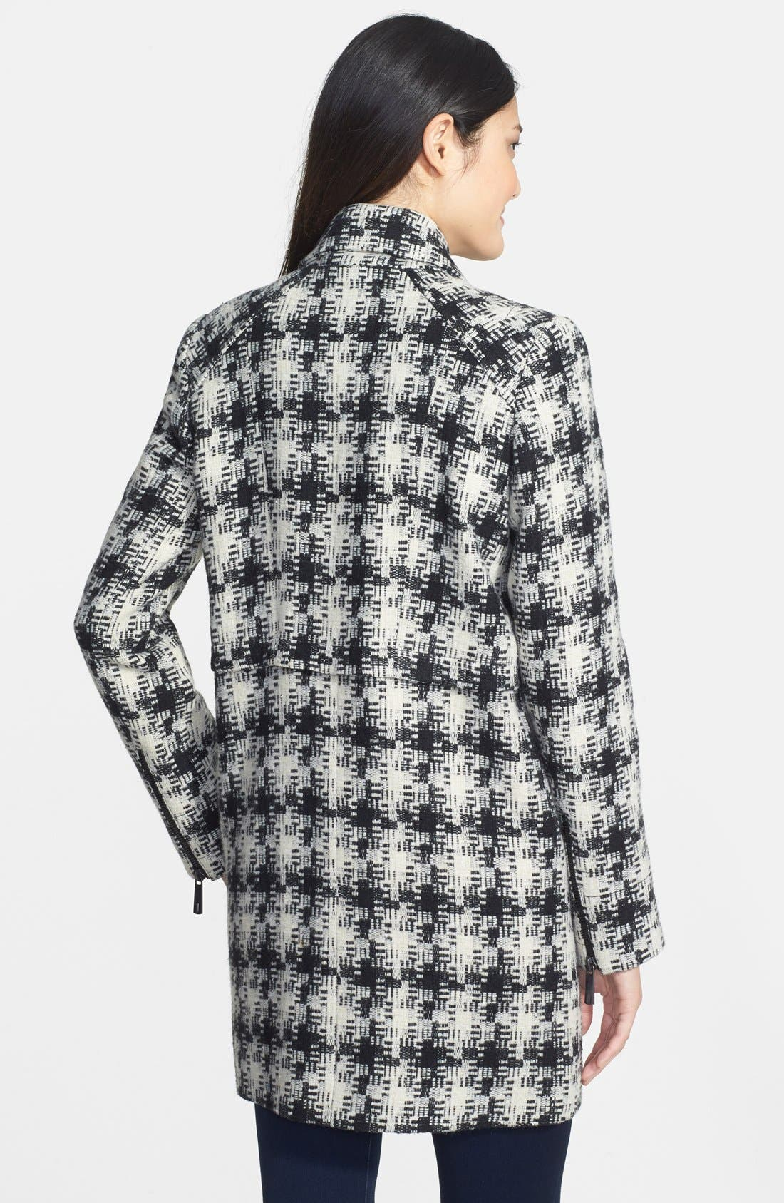 Alternate Image 2  - Kenneth Cole New York Asymmetrical Zip Plaid Tweed Coat