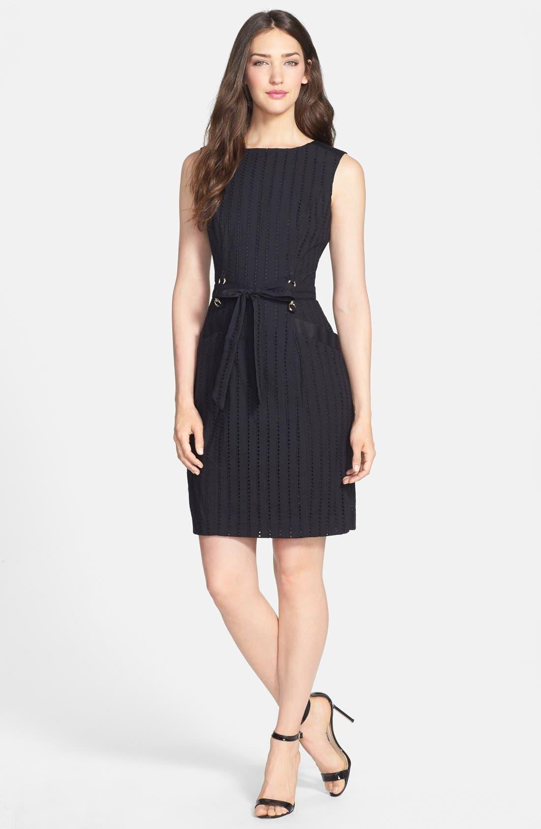 Alternate Image 3  - Ellen Tracy Belted Cotton Eyelet Sheath Dress