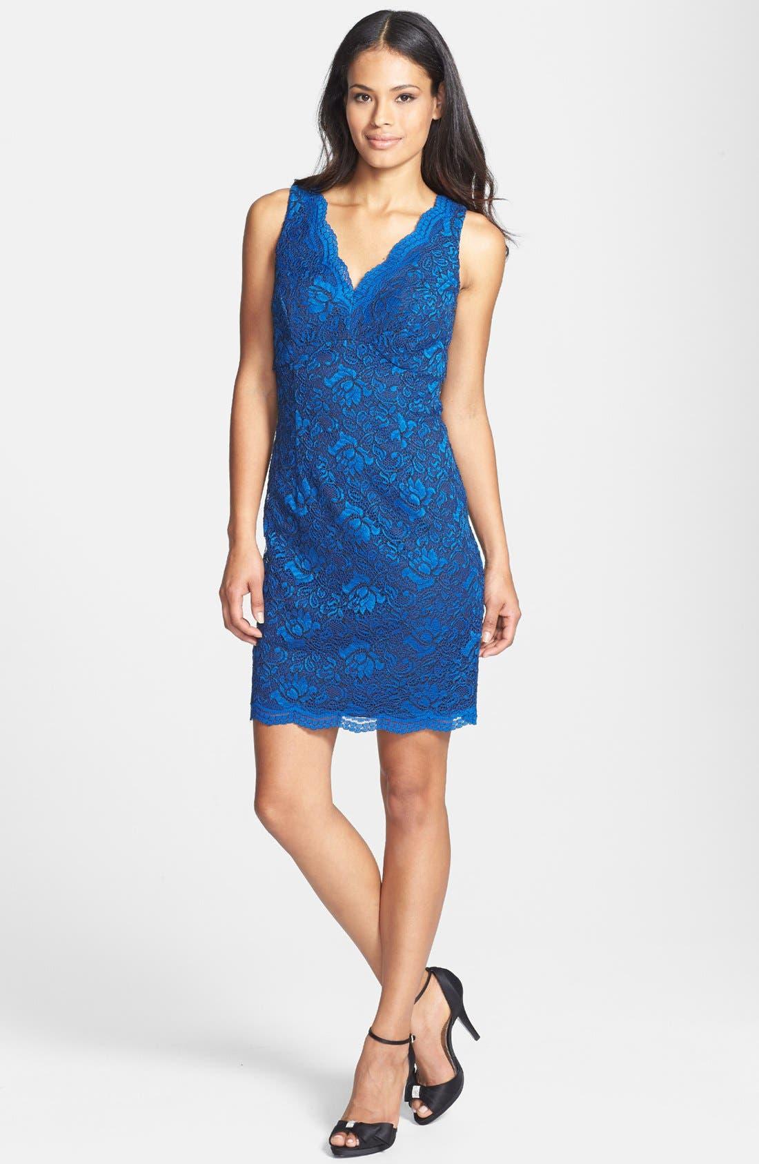 Alternate Image 1 Selected - Donna Ricco Scalloped Lace Sheath Dress (Petite)