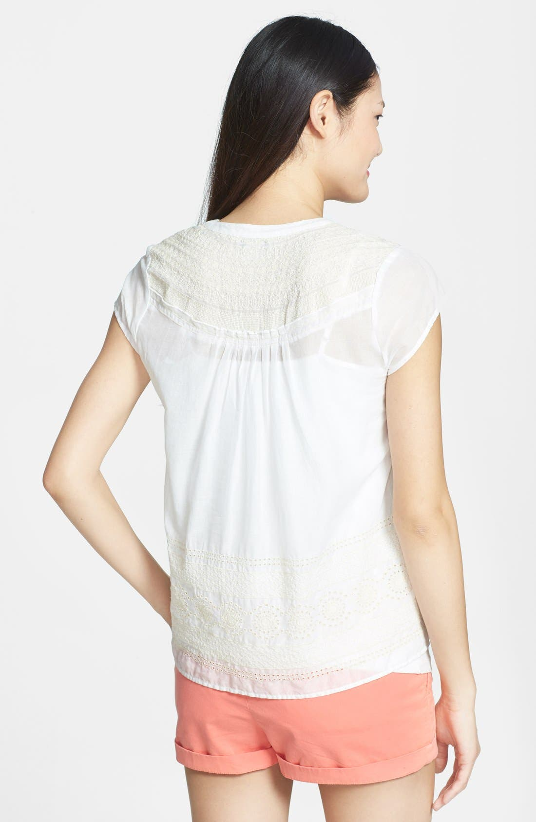 Alternate Image 2  - Lucky Brand Eyelet Embroidered Cotton Top