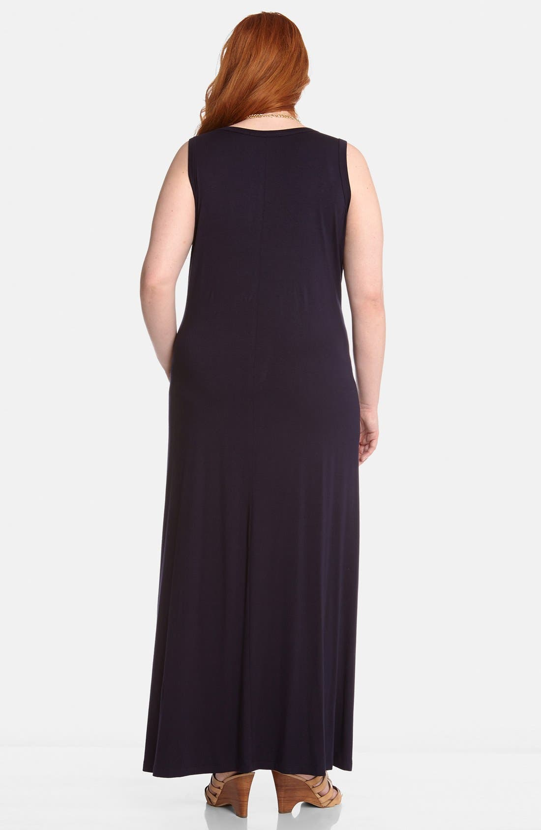Alternate Image 2  - Karen Kane Contrast Stripe Maxi Dress (Plus Size)