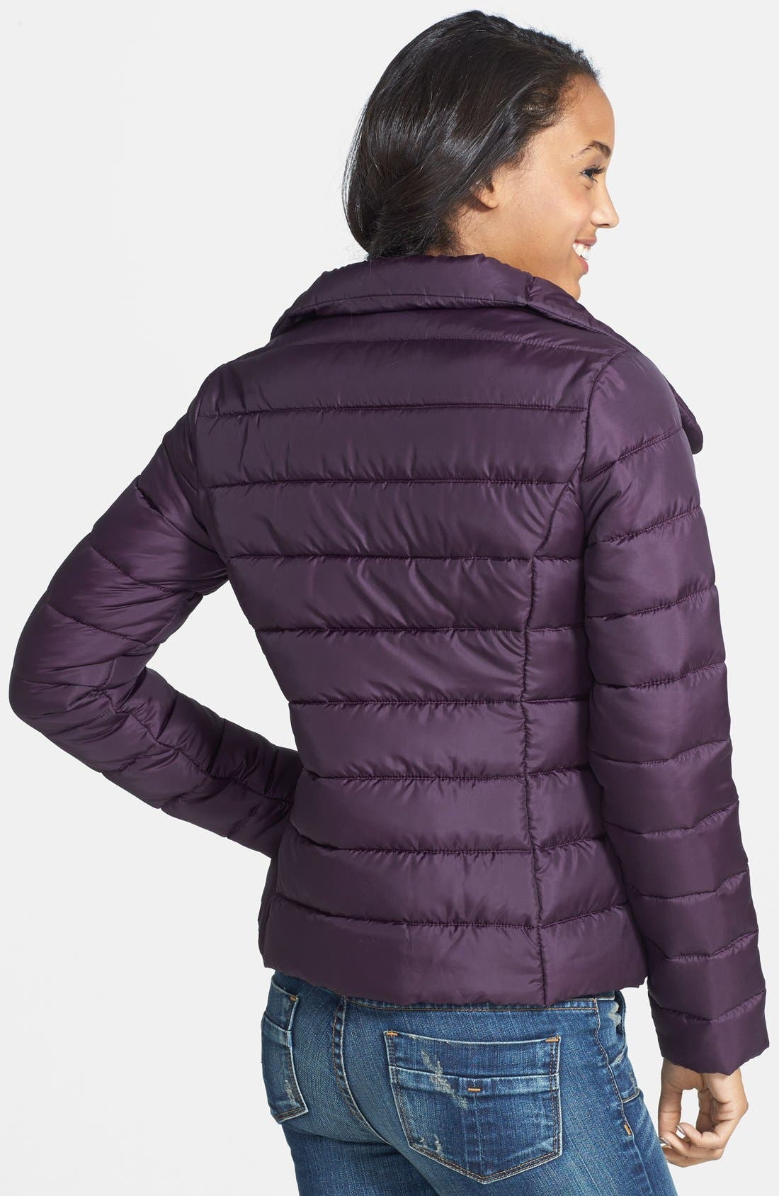 Alternate Image 2  - Krush Faux Leather Trim Puffer Coat (Juniors) (Online Only)