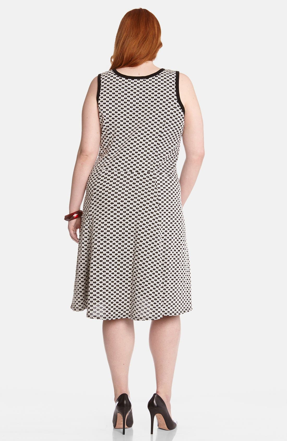 Alternate Image 2  - Karen Kane 'Desert Weave' Fit & Flare Dress (Plus Size)