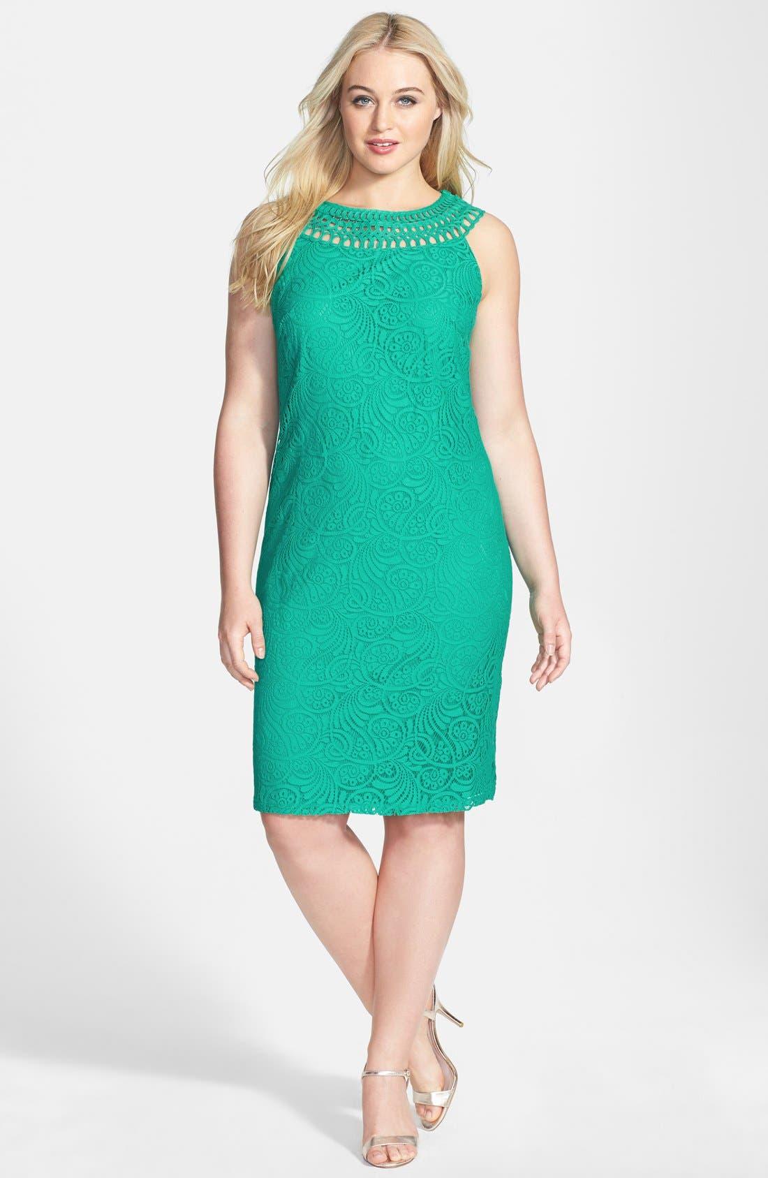 Alternate Image 1 Selected - Jessica Howard Soutache Neck Lace Sheath Dress (Plus Size)