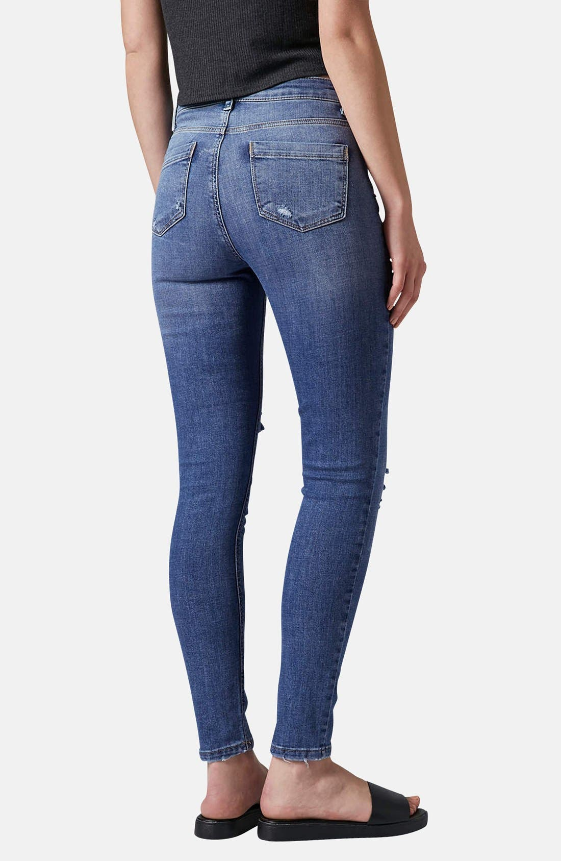 Alternate Image 2  - Topshop Moto Destroyed Skinny Jeans (Mid Denim) (Short & Regular)