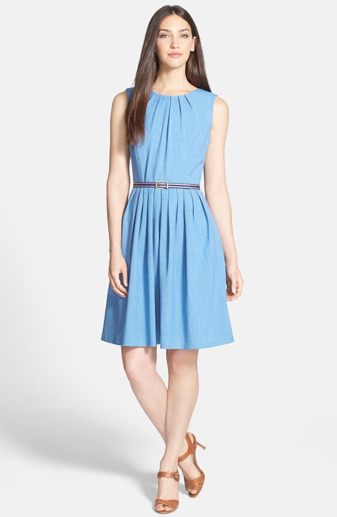 Alternate Image 3  - Ellen Tracy Belted Fit & Flare Dress (Petite)