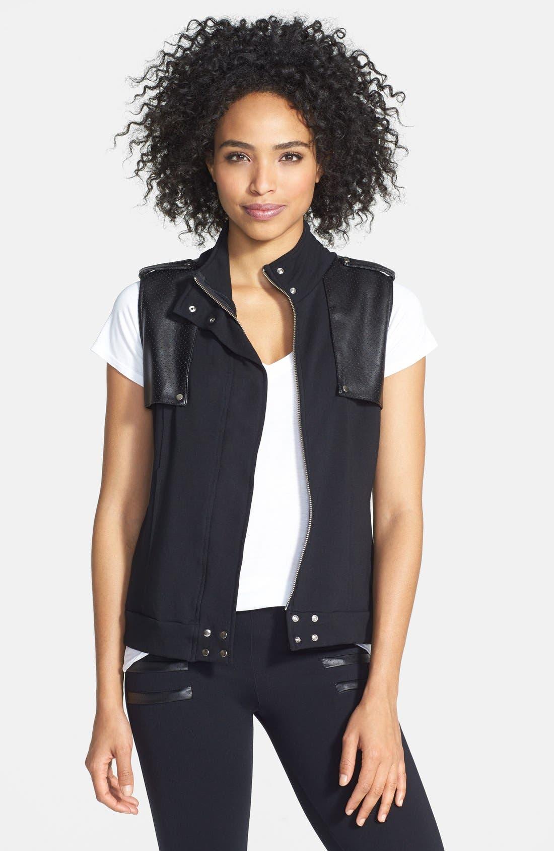 Main Image - Solow Faux Leather Trim Fleece Vest (Online Only)