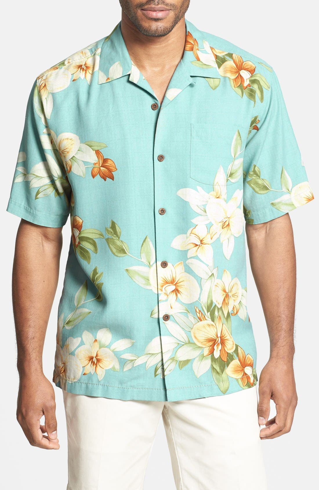 Main Image - Tommy Bahama 'Treasure Beach Floral' Silk Campshirt